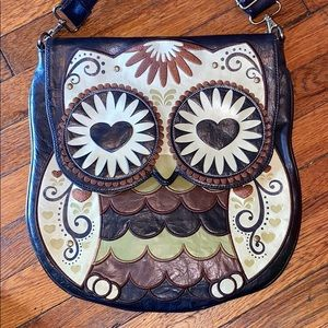 Loungefly brown faux leather OWL crossbody purse
